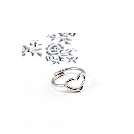 Anello cuore vuoto in argento regolabile